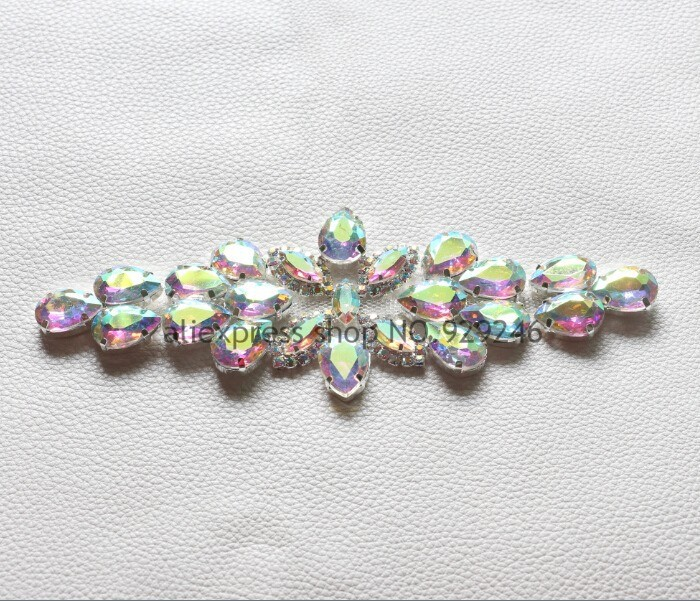 free shipping 1pc lot high-quality AB glass crystal rhinestone applique  sewing on shiny flower trimmings for costume decoration 7a1e257363ce