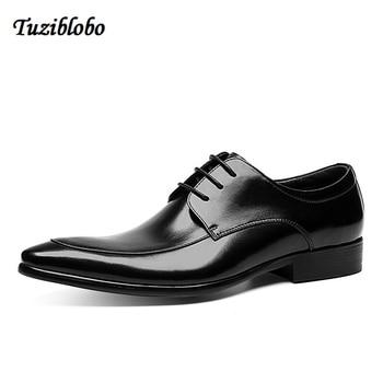 Men Leather Shoes British Style Frenulum Dress Shoes Genuine Leather Cusp Head British Style Ventilation Leather Shoes