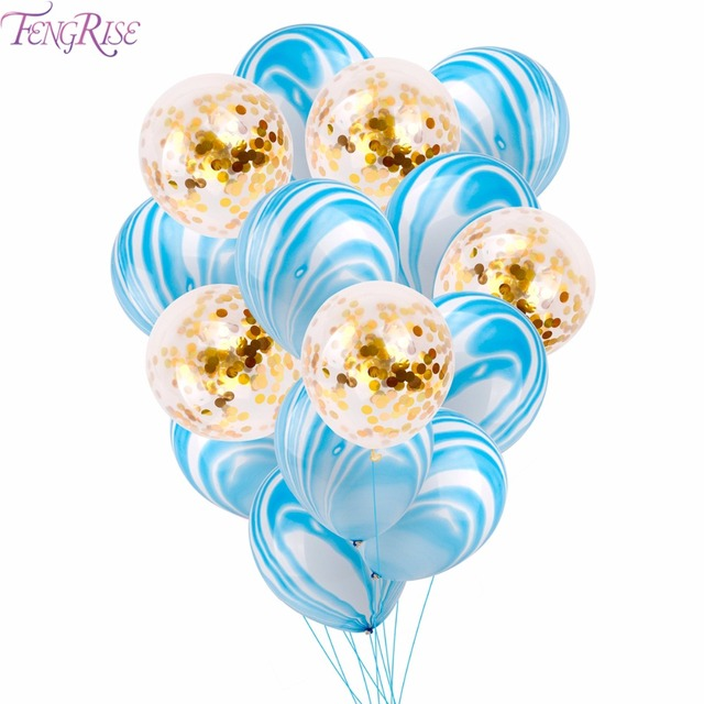 FENGRISE 15pcs Blue Agate Balloon Pink Confetti Ballon Happy Birthday Balloon Baby Shower Decoration Kids Party Supplies