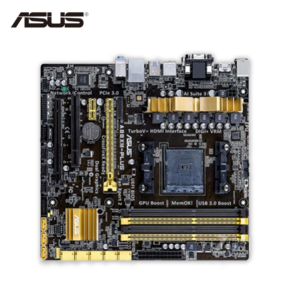 Asus A88XM-PLUS Desktop Motherboard A88X  Socket FM2 DDR3 32G SATA3 USB3.0 Micro ATX Second-hand High Quality материнская плата пк asus a88x plus usb 3 1 a88x plus usb 3 1