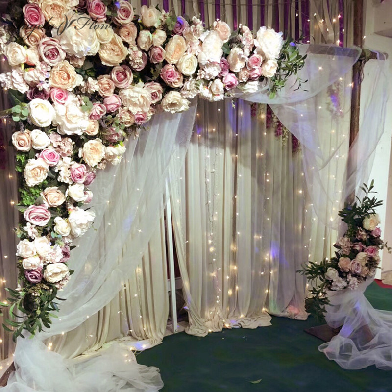 Us 236 0 41 Off 1 6m 1 6m Diy Wedding Decor Props Artificial Flower Row Silk Rose Peony Daisy Plant Mix Hotel Mall Flower Wall Decoration 1 Set In