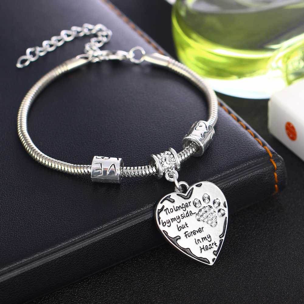 12PCLot Charm Clear Crystal Pet Paw Heart Bracelets Love Beads Bangle No Longer By My Side But Forever In My Heart Jewelry Gift