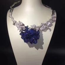 Свадебное ожерелье из стерлингового серебра 925 пробы с кубическим цирконием, вечерние и свадебные украшения для женщин синего цвета