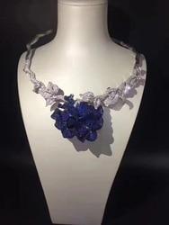 Женское ожерелье из серебра 925 пробы с кубическим цирконием, модное синее ожерелье с цветами для вечеринки или свадьбы