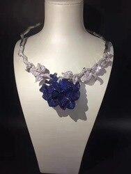 عقد عروس من الفضة الإسترليني عيار 925 مع مكعب من الزريكون عقد زهور للحفلات أو الزفاف مجوهرات نسائية باللون الأزرق