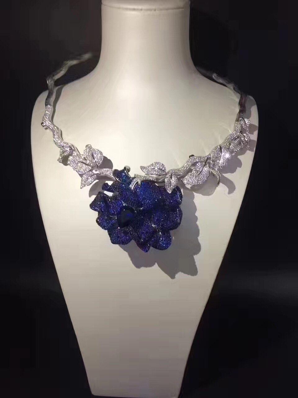 Collier de mariée 925 en argent sterling avec zircon cubique fleur couples collier pour la fête ou le mariage mode femmes bijoux bleu