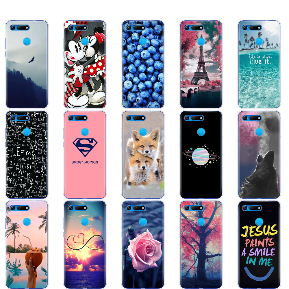 Case For Huawei Honor View 20 V20 Case Soft Silicone Cover For Honor V20 Capa Cute Animal Pattern Cartoon Full 360 Funda