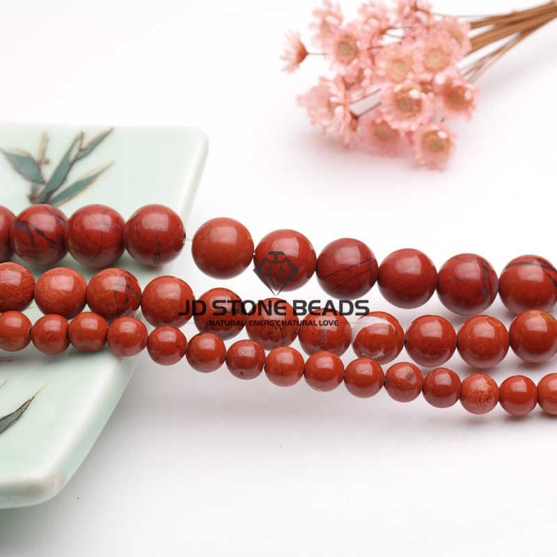 จัดส่งฟรีธรรมชาติสีแดง JASPER ลูกปัด 3-12 มม.กึ่งสำเร็จรูป Handmade DIY สร้อยข้อมือลูกปัดอัญมณีสำหรับเครื่องประดับทำ