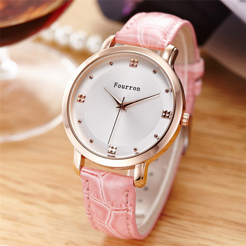 2019 Relogio Feminino Ladies Fashion Quartz Watch Kvinnor Rhinestone Leather Casual Dress Kvinnor Watch # MAY22
