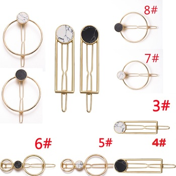 цена на Fashion Hot Women Girls Hair Clip Metal Circle Square Hair Clips Natural Stone Hairpins Barrettes Wedding Hair Clip Accessories
