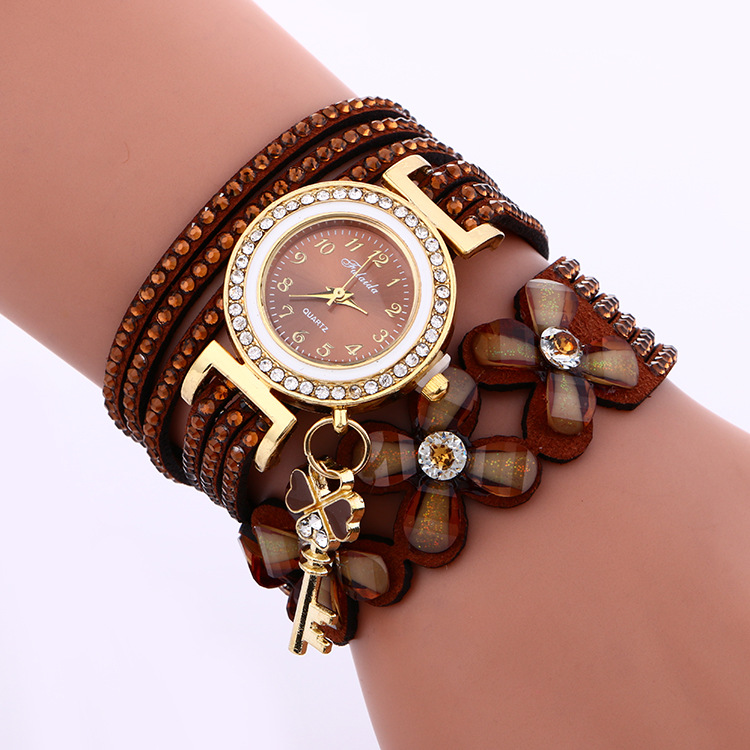 MINHIN Brand Luxury Gold Crystal Rhinestone Bracelet Watch Women Casual Dress Velvet Band Watches Flower Quartz