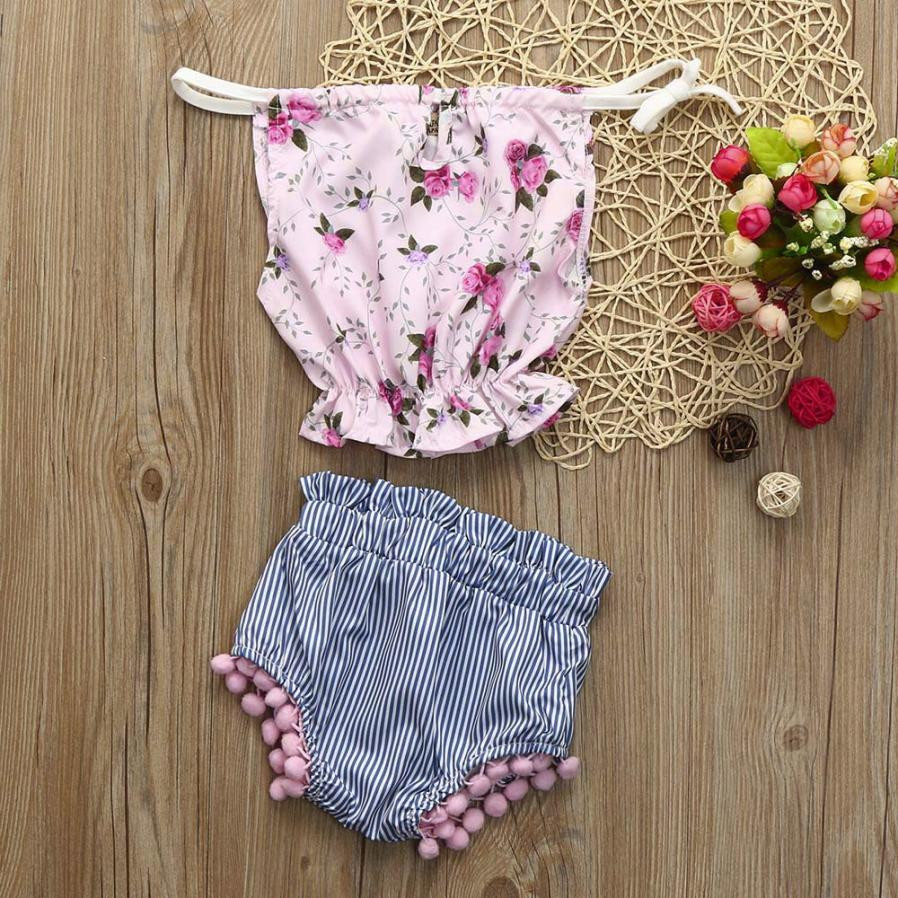 2pcs Infant Toddler Baby Girls Lace Striped baby girl clothes newborn floral girls suit Clothes Tops Shorts Set Outfits