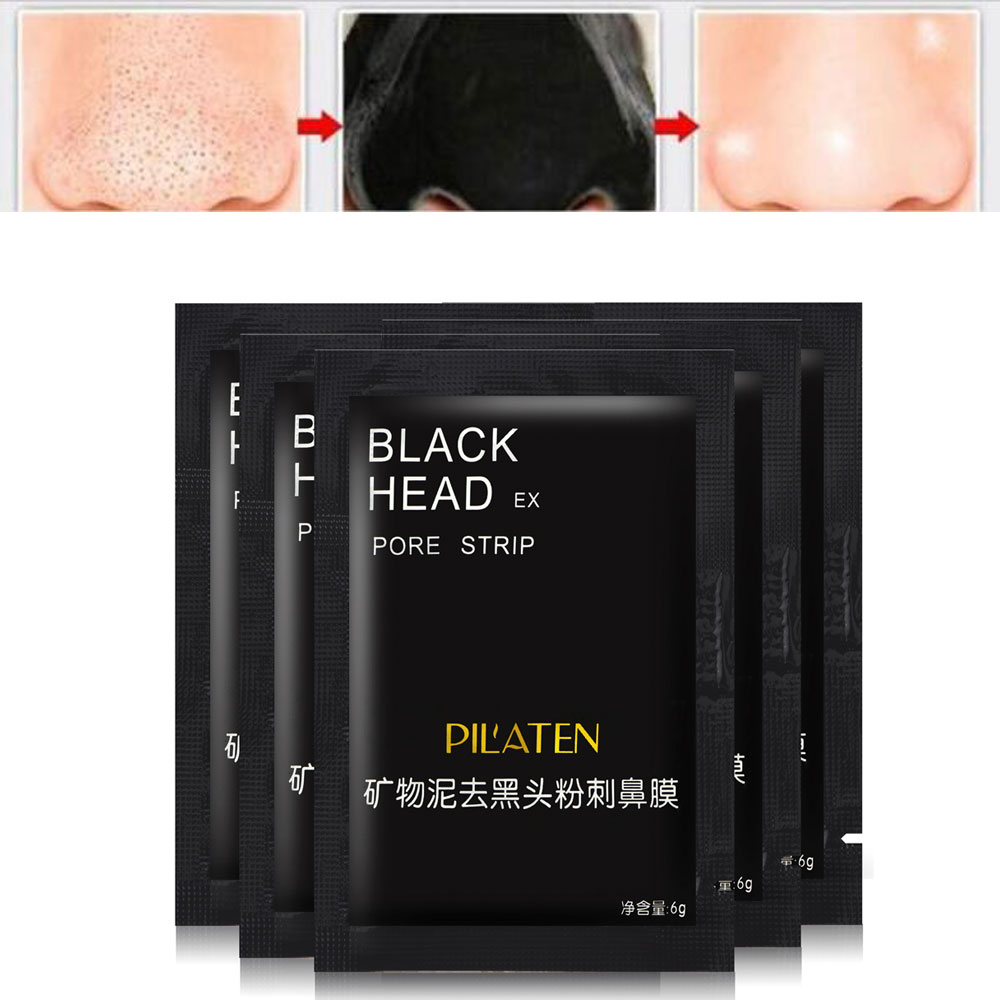 20pcs/lot Black Mask PILATEN Tearing Style Deep Cleansing Purifying Peel Off Black Head Close Pores Facial Mask Head Pore Strips