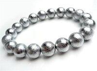 10 мм женские натуральные круглые бусины Gibeon метеорит Moldavite браслеты браслет стрейч хрустальные бусины 925 серебро 19 бусин