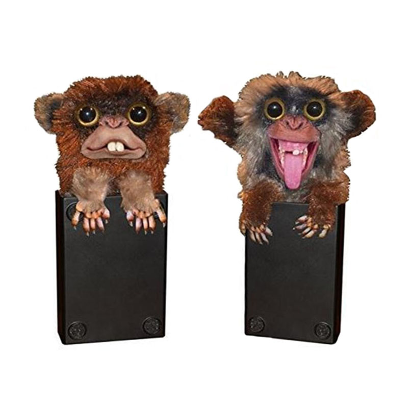Innovative Spoof Monkey Toys Plastic Plush Animal Toy Finger Monkey Fur Plastic Brown Pet Surprise Toys Fur Plastic Finger Toys