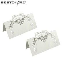 50 шт. лазерная резка стол в форме сердца имя карты место карты Свадебная вечеринка украшения пользу