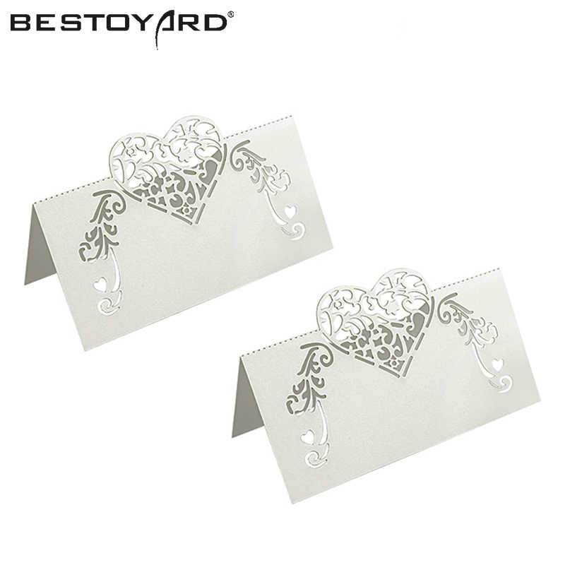 50pcs Laser Cut Heart Shape Table Name Card Place Card Wedding Party Decoration Favor