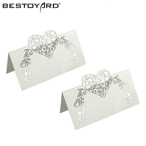 50pcs Laser Cut Heart Shape Table Name Card Place Card Wedding Party Decoration Favor(China)