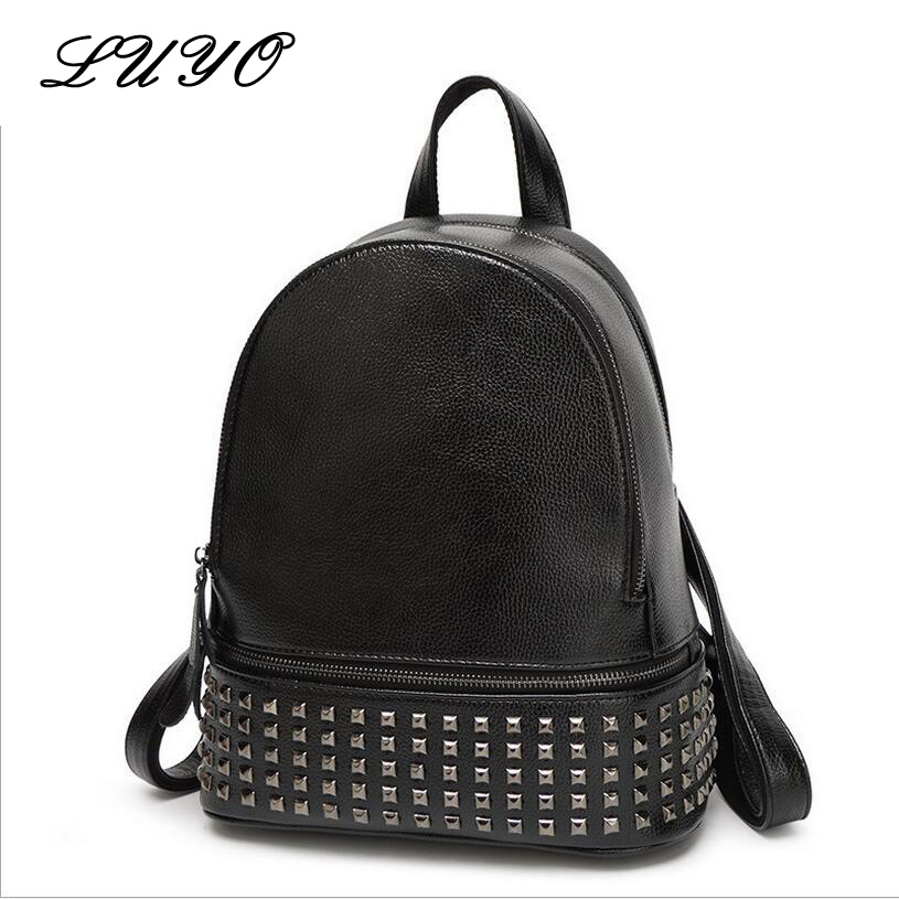 Luyo New Arrival Famous Punk Black Rivet Backpacks Student School Women Fashion Genuine Leather Bags For Teenagers Sac A Dos new arrival set of four rivet with embossing backpack female rivet woolly bear pendant with fashion backpacks b 40
