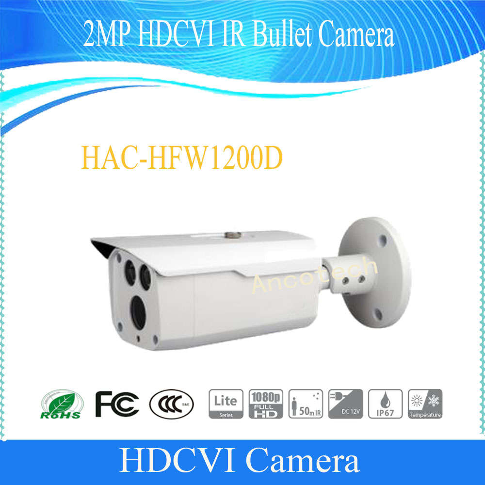 Free Shipping DAHUA Outdoor Camera CCTV 2MP 1080P Water-proof HDCVI IR Bullet Camera Smart Camera without Logo HAC-HFW1200D dahua 2mp hdcvi camera cctv 1080p water proof ip67 hac hfw1200s bullet camera lens 3 6mm ir leds length 30m mini security camera