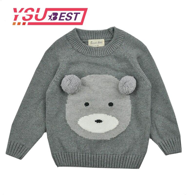2018 Spring Kids Girls Sweaters Cute Bear Pattern Sweaters Autumn Kids Fashion Knitting  ...