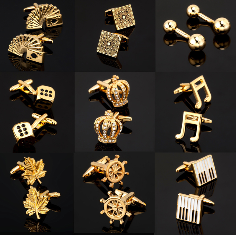Gold Cufflinks Keyboard Cards/engraving High-Quality Men's KC Dice/piano And Wholesale
