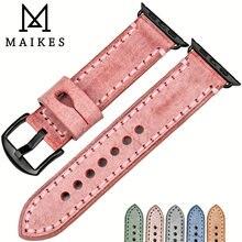 Ремешок maikes из натуральной кожи для apple watch band 44 мм