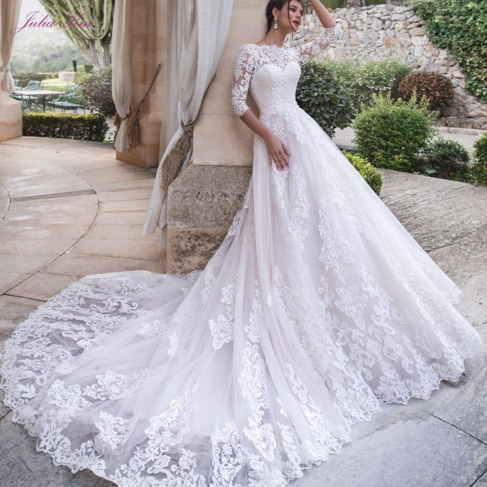 Julia Kui High Neck Half Sleeves A line Wedding Dress Lace Up Embroidery Lace Chapel Train Bride Gown Vestido de noiva-in Wedding Dresses from Weddings & Events    1