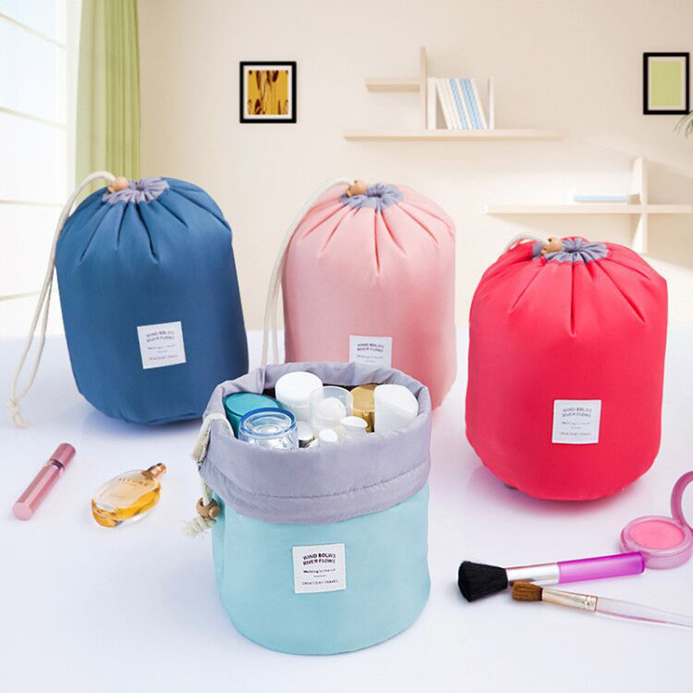 Bag Package-Bag Toiletry-Organizer Cosmetic Drawstring Waterproof Nylon Cylinder Multi-Purpose