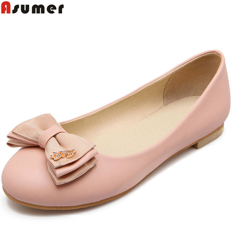 ASUMER 2018 fashion spring autumn new arrival casual flat shoes woman round toe shallow comfortable women flats shoes size 34-46 asumer 2018 fashion apring autumn new