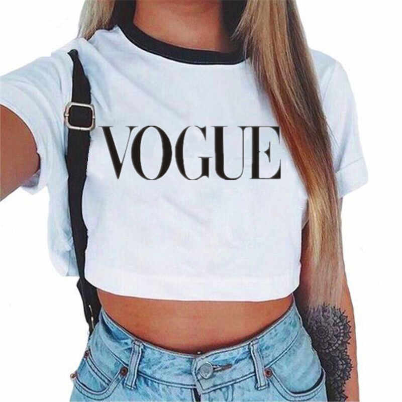 Frauen VOGUE Brief Crop Top Kurzarm T Shirts Frauen Marke Neue Casual Tee Tops Sommer Weibliche T Hemd nette Cropped Top