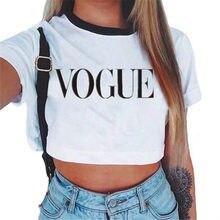 22240f52a52 Women's VOGUE Letter Crop Top Short Sleeve T Shirts Women Brand New Casual  Tee Tops Summer