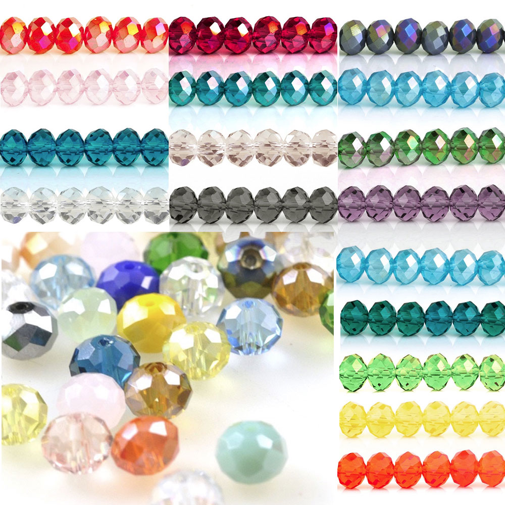 5040 100pcs 6mm Crystal Rondelle Round Glass Beads DIY Jewellery Making For Bracelet Necklace Wholesale 18 Color CR0378-2