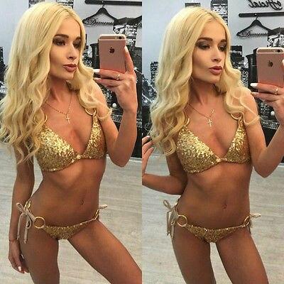 Newest Design Gold Sequins Women Push-up Padded Bra Bandage Bikini Set Swimsuit Swimwear Bathing wholesale bikini swimsuit 1