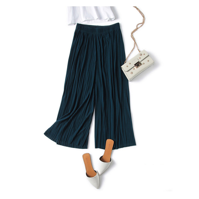 WHZHM 2018 Summer Pants Women High Waist Loose Wide Leg Pants Summer/Spring Casual Trousers Ladies Pink Thin Long Pants Female