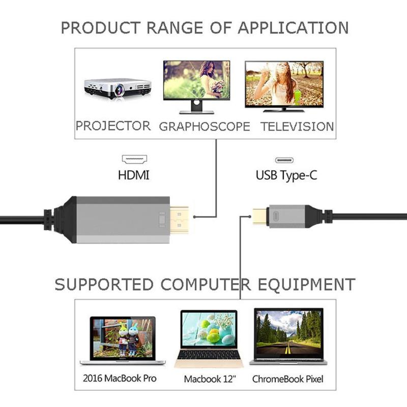 30Hz 60Hz 5m/16.4ft USB-C Type-C to HDMI to HDTV HDMI 4K Cable AV Adapter Cable for Phone Laptop For ASUS U306 For Dell XPS13/15