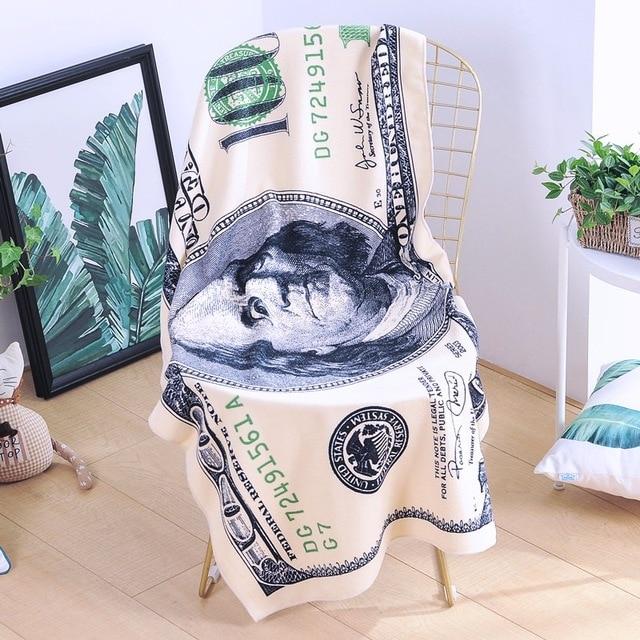 패션 백 달러 미국 빌 장식 비치 타월 인쇄 비치 타월 비치 수영장 일광욕 담요 장식