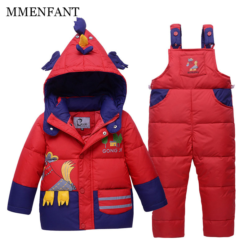 Children Sets 2017 winter baby girls clothes Cartoon cute cock printing Hooded Down jacket coats +Belt pants 1-2-3-4 years old