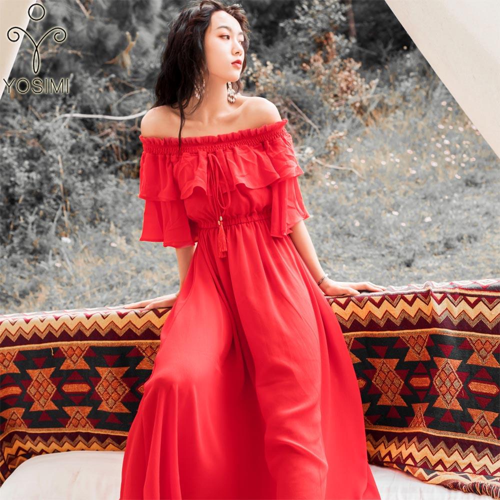 YOSIMI D'été Robe 2019 Robes Longues Femmes de Soirée Partie Robe pour Femmes Rouge Maxi En Mousseline de Soie À Manches Courtes Robe Off Le épaule
