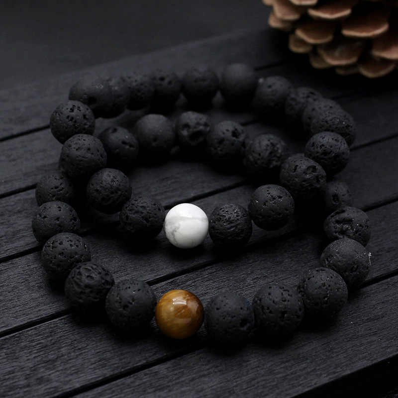 Pulseras de cuentas de piedra Natural de Lava negra para mujer diseño Vintage piedra volcánica Ojo de Tigre pulsera de hilo de cuentas hombres joyería regalos