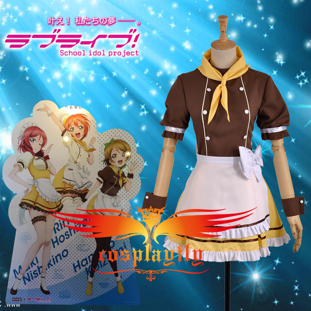 W0952-9 Love Live Hanayo Koizumi Cafe Loita Girls Kawaii Sweet Maid Lady Dress Outfit Cosplay Costume Outfit Clothing For Adult