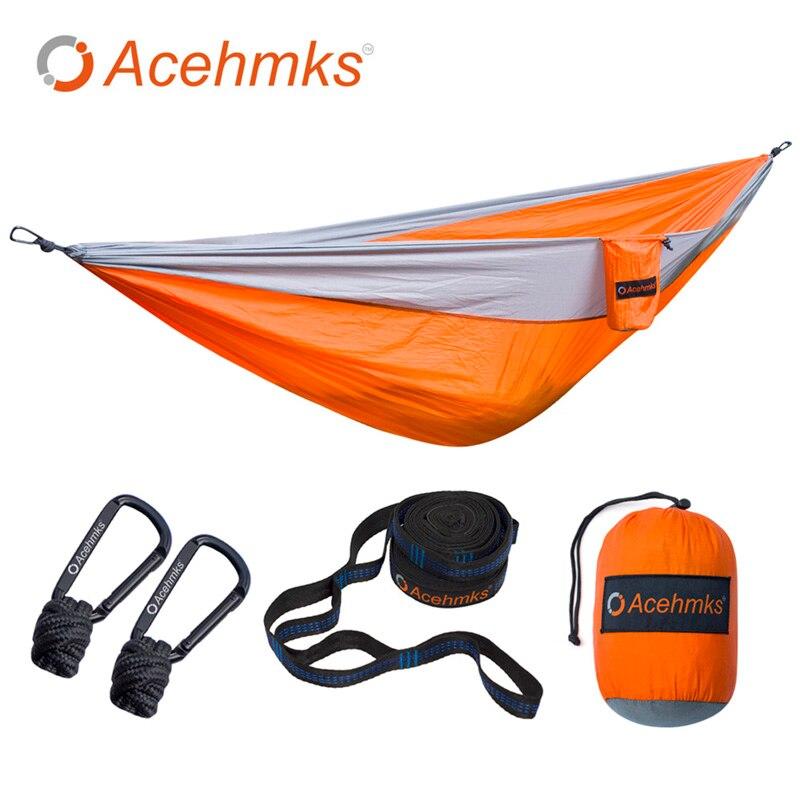 Acehmks Hamac Ultra-Léger Camping Swing Avec 2 Arbre Bretelles Double XXXL Taille 300 cm * 200 cm