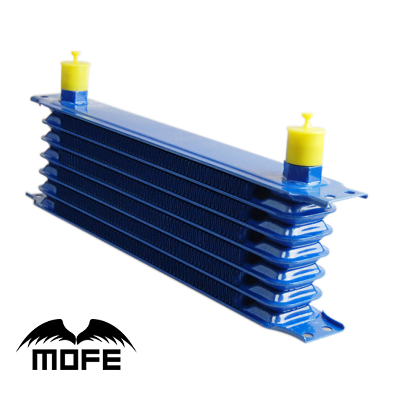 MOFE Racing High Quality 7 Row 10AN Aluminum Oil Cooler Blue H90mm W30mm T5mm
