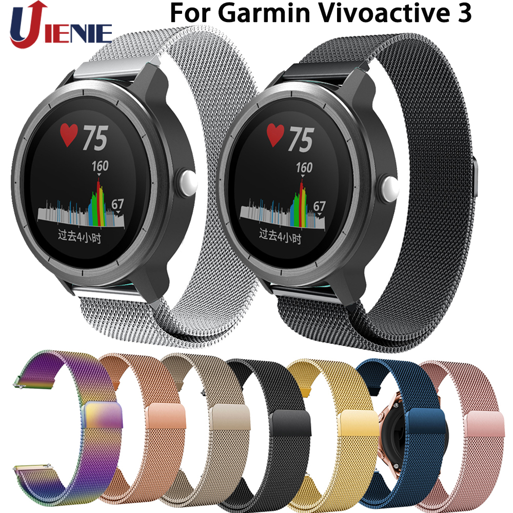 For Garmin Vivoactive 3 Watchband 20mm Strap For Huami Amazfit Youth/GTR 42mm Smart Watch Band Stainless Steel Milanese Bracelet
