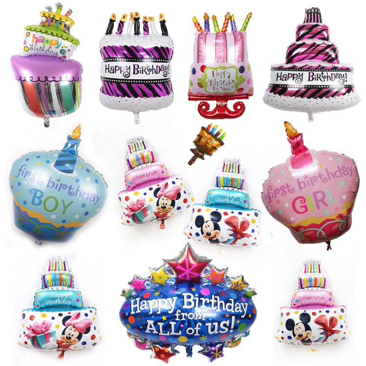 1pc Candy Donut ice cream Happy Birthday Cake Foil Balloons Globos Baby Boy Girl Minnie Mickey Happy Birthday Party Decorations birthday cake