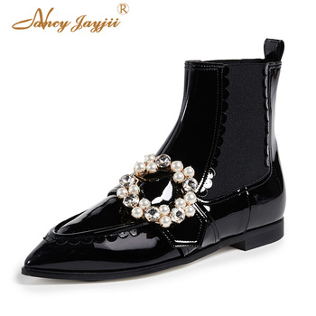 Black Women Ankle Botas Female Bootie Ladies Shoes Crystal Chelsea Solid Short Plush Pointed Toe Pearl 2018 Winter Autumn
