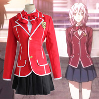 Anime Guilty Crown Yuzuriha Inori Cosplay Costume Full Set School Uniform ( Jacket + Skirt + Bow tie ) Size S XL