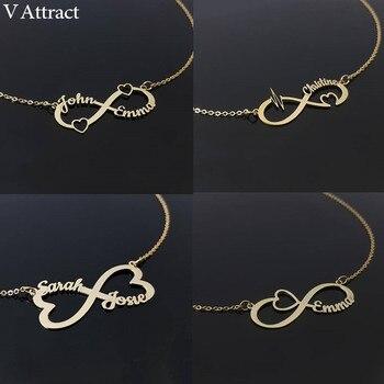 1ff40a240ddd Personalizado infinito nombre colgante collar de las mujeres de Bijoux  Femme corazón gargantilla declaración joyería BFF San Valentín e día regalo