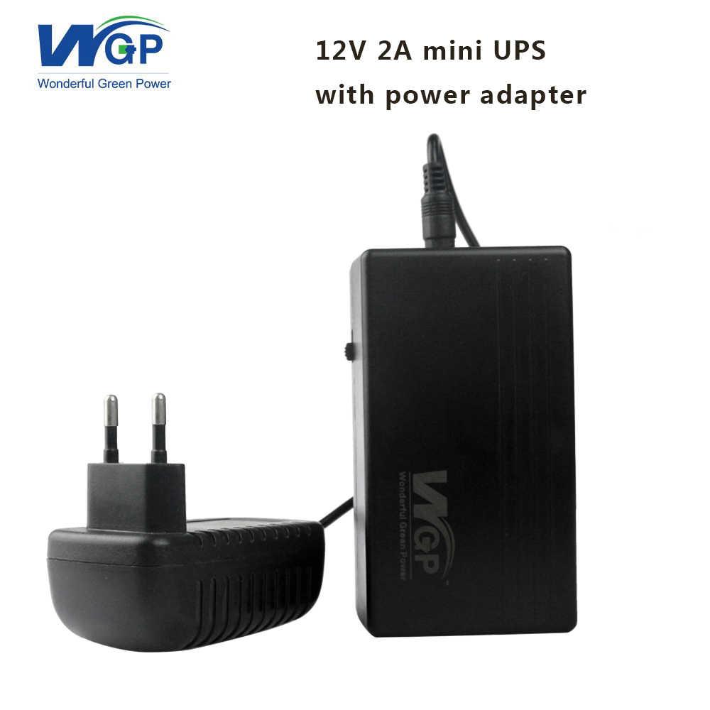 High capacity 12V 2A mini ups 7800mAh dc uninterruptible power supply ups  for security camera + 12V power adapter EU plug