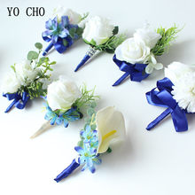Fashion Groom Boutonniere Rose Wrist Flower and Corsage Set Wedding Decor Beautiful Silk Flower Bouquet Bridesmaid Wrist Corsage(China)